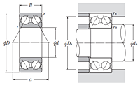 Double Row Angular Contact Ball Bearing - Open Type - Dimensions