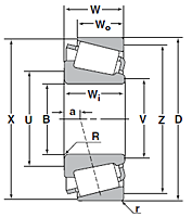 Cone for Tapered Roller Bearing - Inch Series and J Series - Dimensions