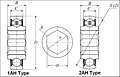Farm Implement Bearings - Hex Bore - Dimensions