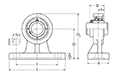 Pillow Block Unit, Set Screw, Cast Housing, High-Profile, UCHP Type - Dimensions