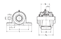 Pillow Block Unit, Set Screw, Pressed Steel Dust Cover, Open End, UCP Type - Dimensions