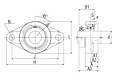 Ultra-Class Two Bolt Flanged Unit with Eccentric Lock, JELFLU Type - Dimensions