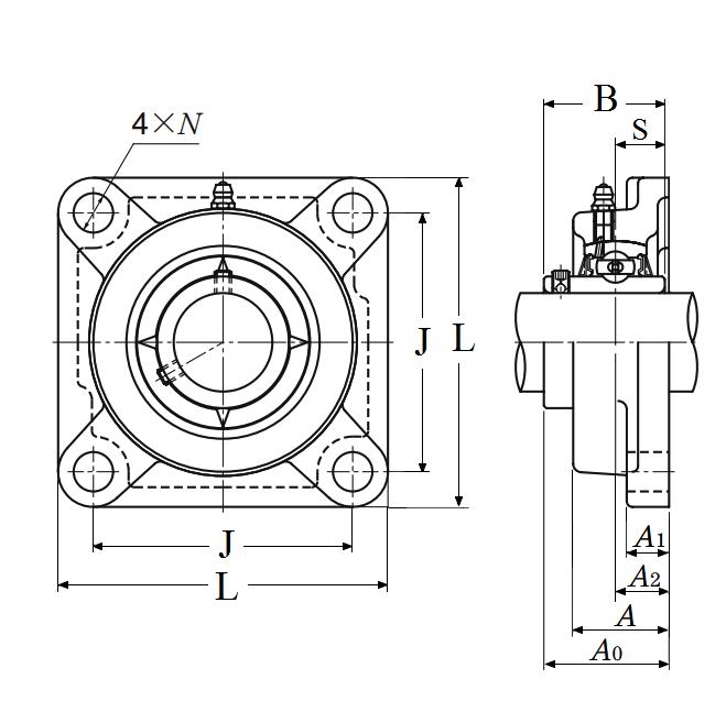 NTN UCF212D1 Flange Bearing 4-Bolt 60mm Bore F212//UC212 UCF212-60 mm