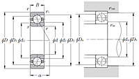 Single Angular Contact Ball Bearings - Ultage Type - Dimensions