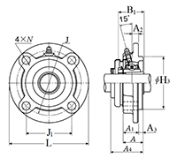 Four Bolt Round Flange Unit, Cast Housing, Adapter, Pressed Steel Dust Cover, Open End, UKFC Type - Dimensions