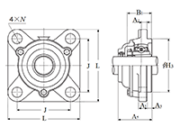 Four Bolt Square Flanged Unit, Cast Housing, Adapter, Cast Dust Cover, Open End, UKFS Type - Dimensions