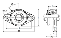 Two Bolt Rhombus Flanged Unit, Cast Housing, Adapter, Pressed Steel Dust Cover, Open End, UKFL Type - Dimensions
