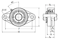 Two Bolt Rhombus Flanged Unit, Cast Housing, Adapter, UKFL Type - Dimensions