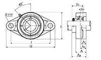 Two Bolt Rhombus Flanged Unit, Cast Housing, Eccentric Locking Collar, AELFL Type - Dimensions