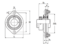 Two Bolt Rhombus Flanged Unit, Pressed Steel Housing, Eccentric Locking Collar, AELPFL Type - Dimensions