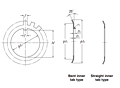 Lockwasher - Straight Inner Tab Type - Dimensions