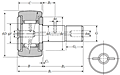 Cam Follower Stud Type Track Roller Bearing - Spherical O.D., CR Type - Dimensions