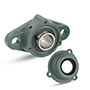 Two Bolt Rhombus Flanged Unit, Cast Housing, Set Screw, Cast Dust Cover, Open End, UCFL Type - 6
