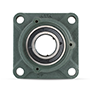 Four Bolt Square Flanged Unit, Cast Housing, Set Screw, Cast Dust Cover, Closed End, UCF Type - 4