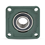 Four Bolt Square Flanged Unit, Cast Housing, Set Screw, Cast Dust Cover, Closed End, UCF Type - 6