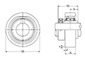 Cartridge Unit, Cast Housing, Eccentric Locking Collar, UELC Type - Dimensions