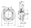 Four Bolt Round Flange Unit, Cast Housing, Adapter, Cast Dust Cover, Closed End, UKFC Type - Dimensions