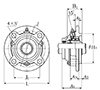 Four Bolt Round Flange Unit, Cast Housing, Adapter, Cast Dust Cover, Open End, UKFC Type - Dimensions