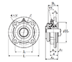 Four Bolt Round Flange Unit, Cast Housing, Adapter, Pressed Steel Dust Cover, Closed End, UKFC Type - Dimensions