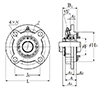 Four Bolt Round Flange Unit, Cast Housing, Adapter, UKFC Type - Dimensions