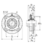 Four Bolt Round Flange Unit, Cast Housing, Set Screw, UCFC Type - Dimensions