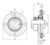 Four Bolt Round Flange Unit, Pressed Steel Housing, Eccentric Locking Collar, JELPF Type - Dimensions