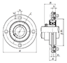Four Bolt Round Flange Unit, Pressed Steel Housing, Set Screw, ASPF Type - Dimensions