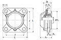 Four Bolt Square Flanged Unit, Cast Housing, Adapter, Cast Dust Cover, Closed End, UKFS Type - Dimensions