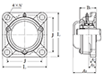 Four Bolt Square Flanged Unit, Cast Housing, Adapter, Cast Dust Cover, Closed End, UKF Type - Dimensions