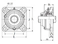 Four Bolt Square Flanged Unit, Cast Housing, Adapter, Cast Dust Cover, Open End, UKF Type - Dimensions