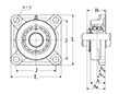 Four Bolt Square Flanged Unit, Cast Housing, Adapter, UKF Type - Dimensions