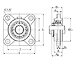 Four Bolt Square Flanged Unit, Cast Housing, Adapter, UKFS Type - Dimensions