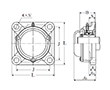 Four Bolt Square Flanged Unit, Cast Housing, Set Screw, Cast Dust Cover, Closed End, UCF Type - Dimensions