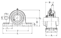 Pillow Block Unit, Cast Housing, Narrow Set Screw, ASPL Type - Dimensions