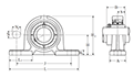 Pillow Block Unit, Set Screw, Ductile Cast Housing, UCPE Type - Dimensions