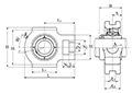 Take-Up Unit, Cast Housing, Set Screw, UCT Type - Dimensions