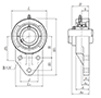 Three Bolt Flanged Unit, Cast Housing, Set Screw, UCFH Type - Dimensions