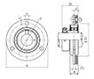 Three Bolt Round Flange Unit, Pressed Steel Housing, Eccentric Locking Collar, AELPF Type - Dimensions
