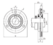 Three Bolt Round Flange Unit, Pressed Steel Housing, Eccentric Locking Collar, JELPF Type - Dimensions