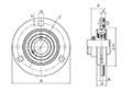 Three Bolt Round Flange Unit w Rubber Ring, Pressed Steel Housing, Set Screw, ASRPF Type - Dimensions