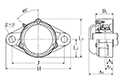 Two Bolt Rhombus Flanged Unit, Cast Housing, Adapter, Cast Dust Cover, Closed End, UKFL Type - Dimensions