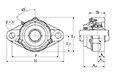 Two Bolt Rhombus Flanged Unit, Cast Housing, Adapter, Cast Dust Cover, Open End, UKFL Type - Dimensions