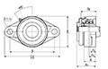 Two Bolt Rhombus Flanged Unit, Cast Housing, Adapter, Pressed Steel Dust Cover, Closed End, UKFL Type - Dimensions