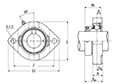 Two Bolt Rhombus Flanged Unit, Cast Housing, Eccentric Locking Collar, JELFD Type - Dimensions