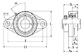 Two Bolt Rhombus Flanged Unit, Cast Housing, Eccentric Locking Collar, UELFL Type - Dimensions
