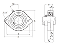 Two Bolt Rhombus Flanged Unit, Cast Housing, Set Screw, ASFB Type - Dimensions