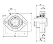 Two Bolt Rhombus Flanged Unit, Cast Housing, Set Screw, ASFD Type - Dimensions