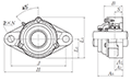 Two Bolt Rhombus Flanged Unit, Cast Housing, Set Screw, Cast Dust Cover, Open End, UCFL Type - Dimensions