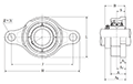 Two Bolt Rhombus Flanged Unit, Ductile Cast Housing, Set Screw, UCFE Type - Dimensions