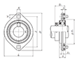 Two Bolt Rhombus Flanged Unit, Pressed Steel Housing, Eccentric Locking Collar, JELPFL Type - Dimensions
